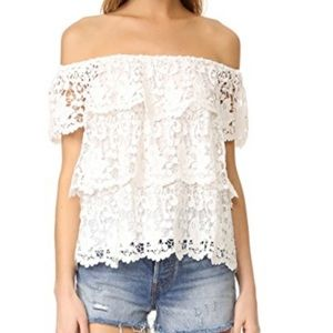 Miguelina white silk lace crotchet top